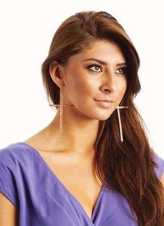 oversized embellished cross earrings