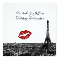 Paris France Skyline Kiss #1 BW Wedding Invitation