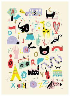 Affiche abécédaire pour enfant de Sarah Andreacchio