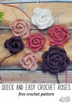 Crochet these simple rose flowers for spring and summer - perfect for mother's day gifts! Free crochet pattern and video tutorial for beginners