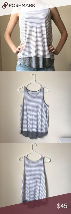 Vince Striped Tank Top NWOT, never worn, size XS, white and gray striped Vince. tank top, 100% cotton. Vince Tops Tank Tops