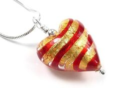 Murano Glass Heart Pendant Necklace - Red & Gold Tiger Stripes Pattern Sterling Silver Heart Necklace, Heart Pendant Necklace, Tiger Stripes, Murano Glass, Red Gold, Scarlet, Chain, Pattern, Necklaces