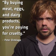 By buying meat, eggs, and dairy products, you're paying for cruelty. ~ Peter Dinklage #vegan