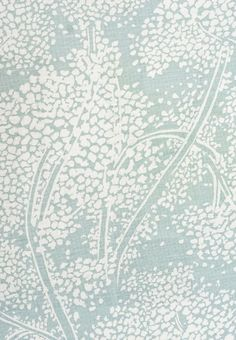 Woodsford Linen Fabric Aqua Linen fabric with large white floral print. Suitable for Upholstery, Curtains and Soft Furnishings.