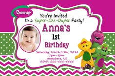 partyexpressinvitations - Barney Birthday Party Invitations , $8.99 (http://www.partyexpressinvitations.com/barney-birthday-party-invitations/)