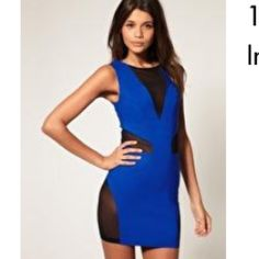 ASOS Body Con Dress with Mesh Inserts Colbalt Blue Body Con Mini Dress...NWOT (Never Worn)...Black Mesh Inserts at Chest, Sides, & Lower Hip, Back Zip...73% Viscose 23% Nylon 4% Elastane...Comment for More Details or Bundling Options! ASOS Dresses Mini