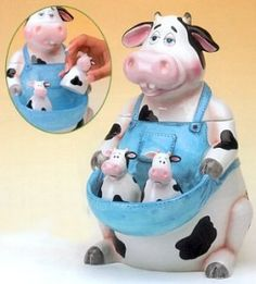COW KOOKY COOKIE JAR WITH SALT AND PEPPER SHAKERS...