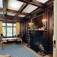 Office - Library Cabinets Paneling And Coffered Ceiling by Birdie Miller
