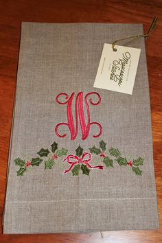 Holly with Monogram Tea Towel by MSstitchesbyKatie on Etsy