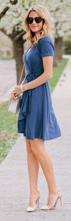 #street #fashion  Blue Wrap Dress  The Ivory Lane                                                                             Source