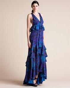 Love this dress - Emilio Pucci Purple & Blue Print Silk Ruffle Maxi Dress