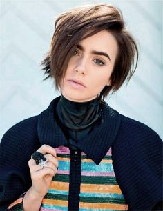 Lily Collins graces the pages of the January 2016 issue of Vogue Russia in a story captured by David Mushegain and styled by Mary Fellowes. Lilly Collins Short Hair, Lily Collins Hair, Pixie Hairstyles, Pixie Haircut, Pretty Hairstyles, Lily Collins Pelo Corto, Short Hair Cuts, Short Hair Styles, Look 2018