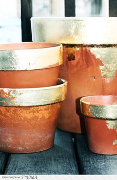 Fancy gold leaf paint on casual clay pots... perf!