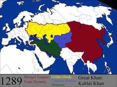Imperio mongol wikipedia.org Fue el imperio de tierras continuas más extenso de la historia y en su apogeo se extendió desde la península de Corea hasta el río Danubio. A partir del año 1206, las tribus mongolas se unieron bajo el mando del guerrero Gengis Kan y el imperio llegó a tener una extensión máxima de unos 33 millones de kilómetros cuadrados y más de 100 millones de habitantes.