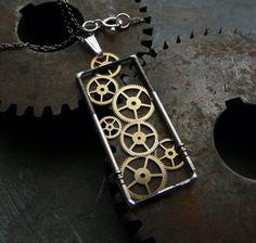 """Clockwork Pendant """"Rirrom"""" Rectangular Mechanical Watch Gear Stem Frame Metal Sculpture Industrial Steampunk Pendant Gear Necklace"""
