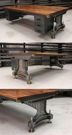The Brunel industrial desk - Handmade vintage industrial style office desk in Walnut and steel. Bespoke sizes and finishes. The Brunel industrial desk - Handmade vintage industrial style office desk in Walnut and steel. Bespoke sizes and finishes.