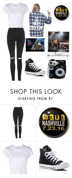 """5sos Concert"" by himynameisangel on Polyvore featuring Topshop, RE/DONE, Converse, Jac Vanek and Polaroid"