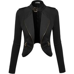 Awesome21 Women's Lapel Long Sleeve Short Suit Blazer Jacket ($20) ❤ liked on Polyvore featuring outerwear, jackets, blazers, lapel jacket, short jacket, short blazer, lapel blazer and blazer jacket