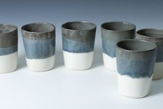 White Matte and Grey Stoneware Cups / Tumblers, Handmade Simple, Modern - Sold individually - pottery cups - 2nd batch