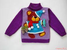 """Здравствуйте, страномамочки! И снова я к Вам с повтором. Детский нарядный свитерок """"Спешу на праздник"""" многим очень понравился, порадовала таким свитерком четырех малышей."""