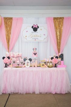 Take a look at this stunning Minnie Mouse Princess Birthday Party! The dessert table is incredible! See more party ideas and share yours at CatchMyPa. Minnie Mouse Birthday Theme, 1st Birthday Party For Girls, Minnie Mouse Baby Shower, Girl Birthday Themes, Princess Birthday, Birthday Parties, 2nd Birthday, Minnie Mouse Birthday Decorations, Minnie Mouse Table