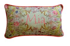 Personalized name bolster cushion in pure linen