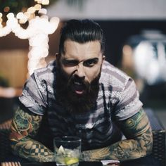Levi Stocke - full thick beard and mustache beards bearded man men mens' style casual street fashion clothes tattoos tattooed handsome #beardsforever