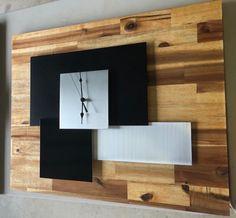 Large quality quartz solid acacia timber wall clock with stylish brushed aluminium trim.