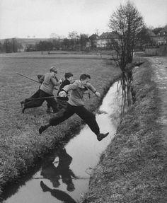 Carl Mydans for Life magazine (April 1954). German school boys playing after school. (Ansbach, Germany).
