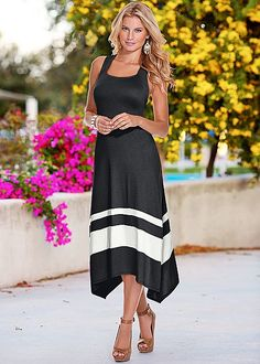 Casual Skirt hem maxi dress, peep toe ankle strap heel