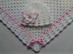 Crochet Baby Blanket and Baby Hat Set Gift Christening Baptism