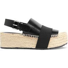 Balenciaga Elastic-trimmed leather wedge sandals (5 055 UAH) ❤ liked on Polyvore featuring shoes, sandals, black, wide sandals, black leather sandals, black platform sandals, elastic-strap sandals and wedge sandals
