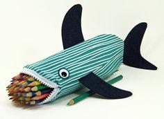 Shark pencil case for kids, from Etsy seller minnebites