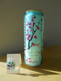 Arizona tea can earrings, cherry blossoms