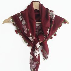 Excited to share the latest addition to my shop: Claret floral scarf women turban headband, gift for friends, cotton Turkish square women scarf, mother's day gift, summer spring accessories Spring Scarves, Red Scarves, Gifts For Friends, Gifts For Mom, Beach Scarf, Types Of Lace, Lace Wrap, Bohemian Accessories, Floral Scarf
