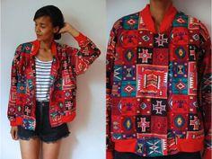 Vtg Bold Tribal Print Red Green Black Zip Up Cotton by LuluTresors, $29.99