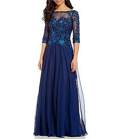 MONTAGE by Mon Cheri Beaded Lace Chiffon Gown