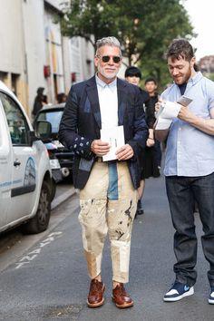 Street Style of Paris: Nick Wooster in COMME des GARÇONS JUNYA WATANABE MAN Jacket | Fashionsnap.com