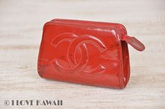 CHANEL Red Enamel Leather CC Logo Cosmetic Pouch