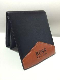 Carteira Hugo Boss Couro Legitimo Masculina Preta C/ Madeira - R$ 160,00