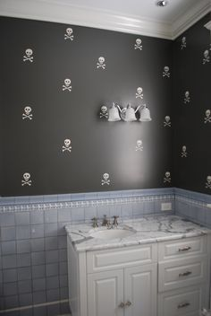 What if they were jolly rogers and it was a pirate themed bathroom?!?! AMAZING!
