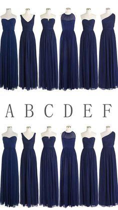 Simple Navy Blue Sleeveless Long Ruffles Chiffon Bridesmaid Dresses #Navyblue #simple #long #bridesmaid #dresses