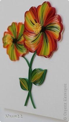 Картина панно рисунок Квиллинг Аленький цветочек Бумажные полосы фото 2