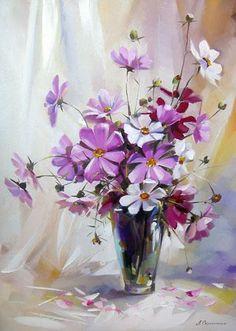 paintings of ludmila skripchenko - Acrylic Flowers, Watercolor Flowers, Watercolor Paintings, Cosmos Flowers, Fruit Art, Beautiful Paintings, Painting & Drawing, Flower Art, Beautiful Flowers