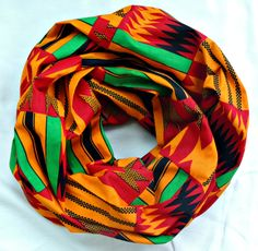 Warm Color Multi-Print Infinity Scarf by SewSophistikated on Etsy