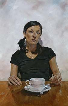 a portrait of a woman seated in front of a large cup and saucer