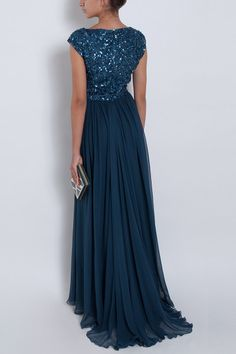 Elie Saab Chiffon Beaded Cap Sleeve Gown in Blue (cherry) - Lyst