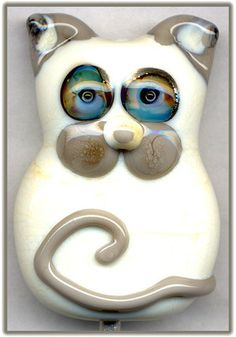 Vanilla Kitty Cat ~Vachel~ Focal Handmade Glass Lampwork Bead Handmade SRA W79 :) ♥♥♥