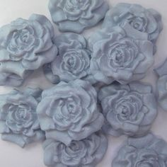 12 Blue Sugar Roses edible flowers wedding cake cupcake decorations