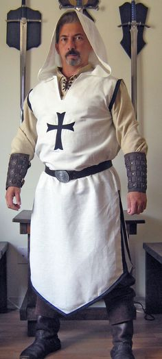 Medieval Celtic Viking Wizard Assassin Hooded Surcoat with Cross.